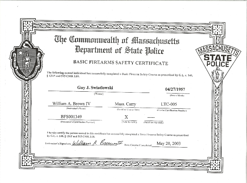 certificate safety firearms promotions marketing